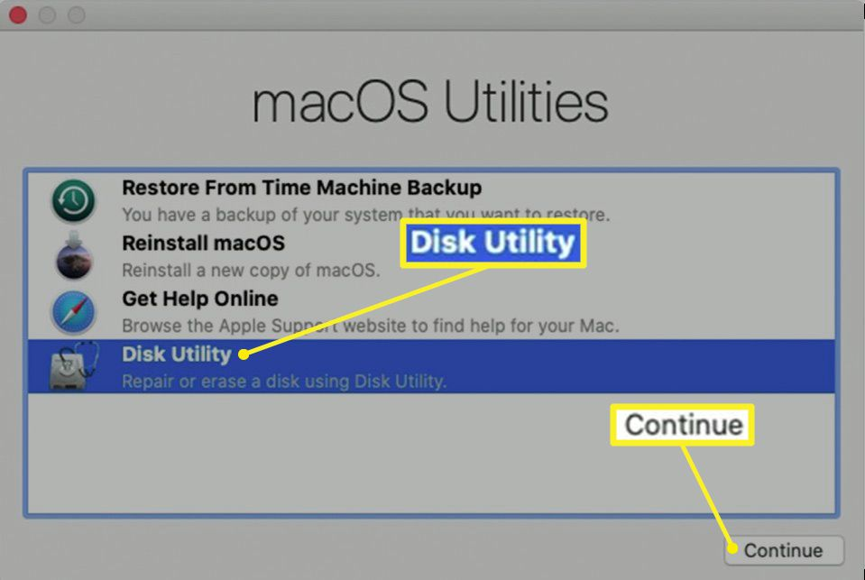 macOS Utilities in Recovery with Disk Utility highlighted