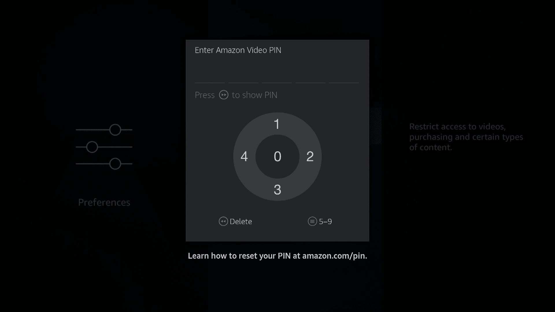 A screenshot of the Firestick PIN entry screen.