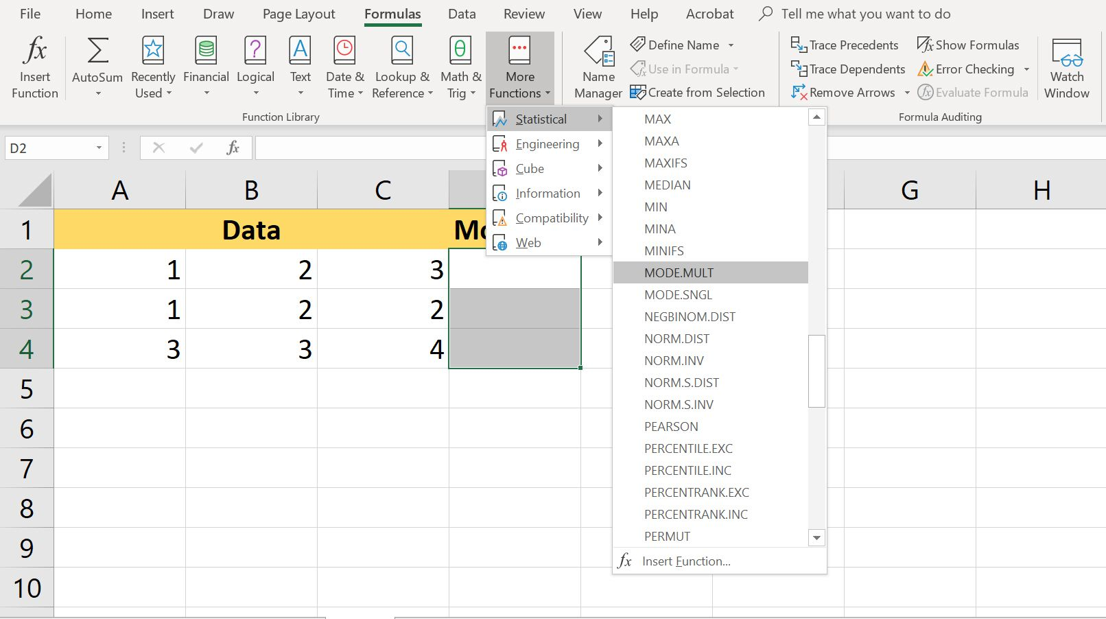 Use MODE MULT Function in Excel
