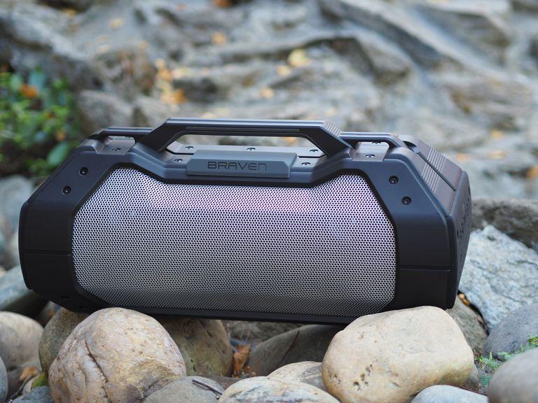 The Braven BRV-XXL speaker sitting outdoors on rocks