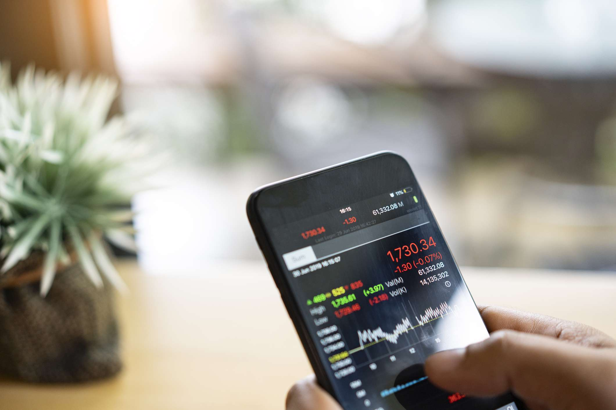 Stock market data displayed on a smartphone.