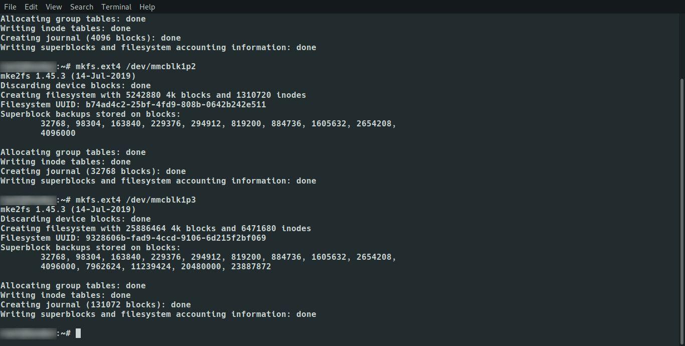 Linux format partitions