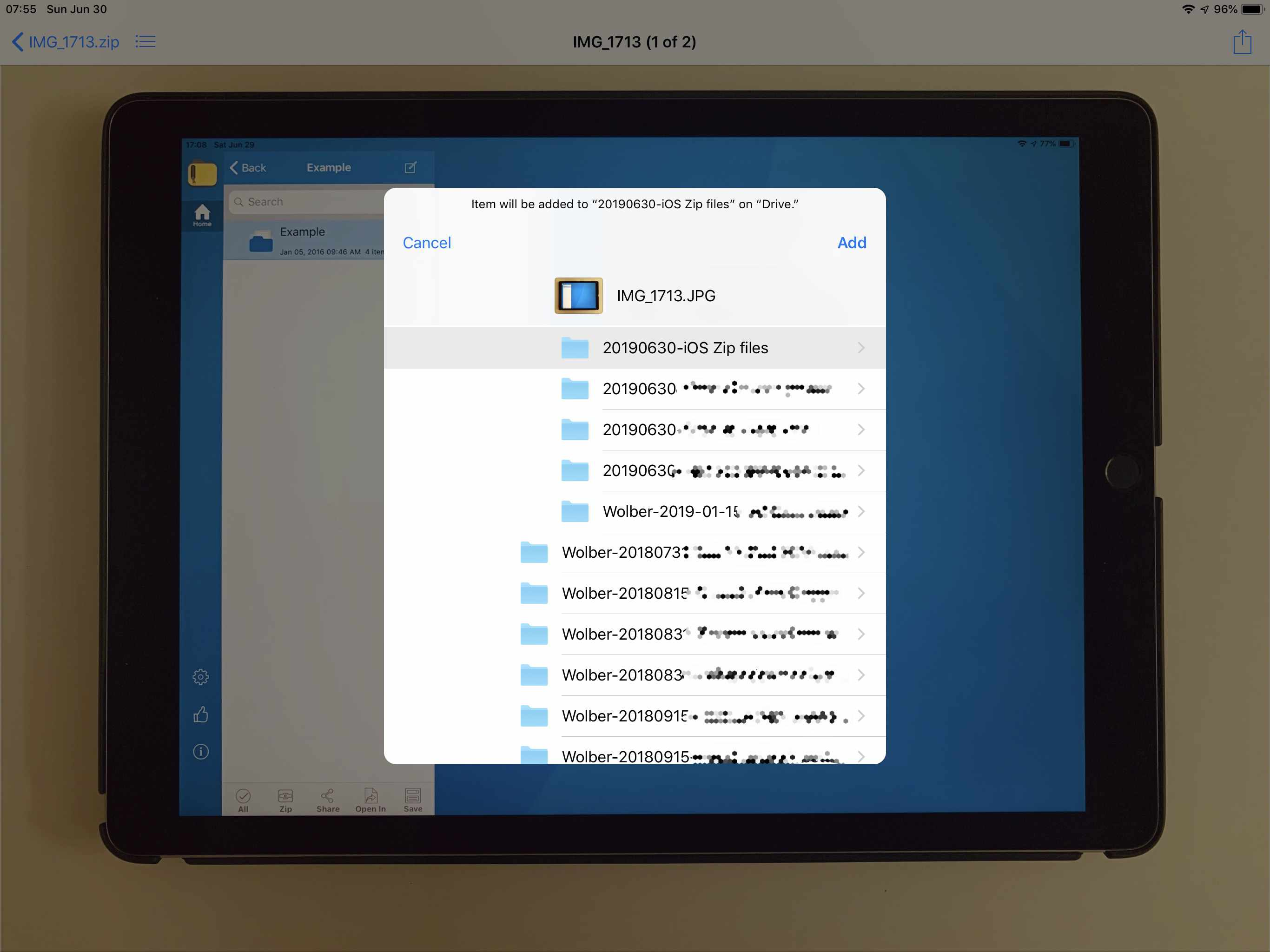 Select a folder in which to save the extracted file, then select Add in the upper right