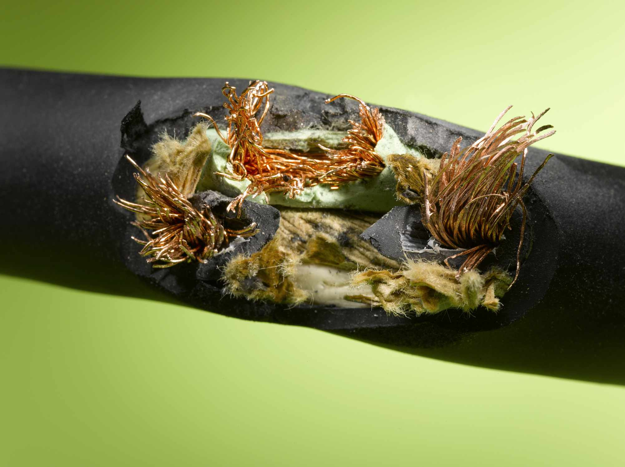 Close up of a frayed wire