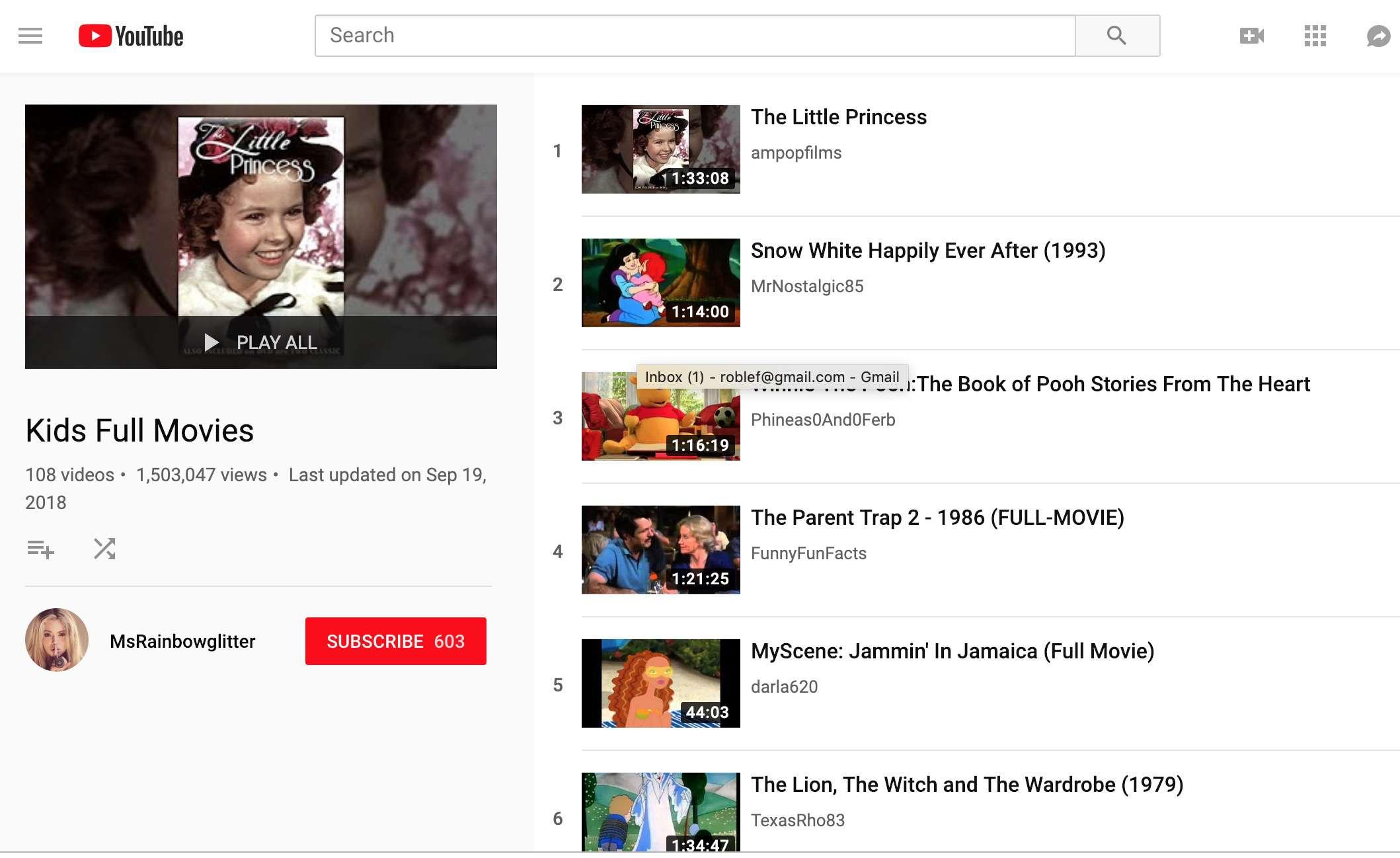 YouTube kids movie playlist