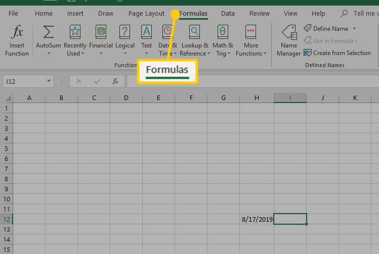 The location of the Formulas tab on the Excel Ribbon.
