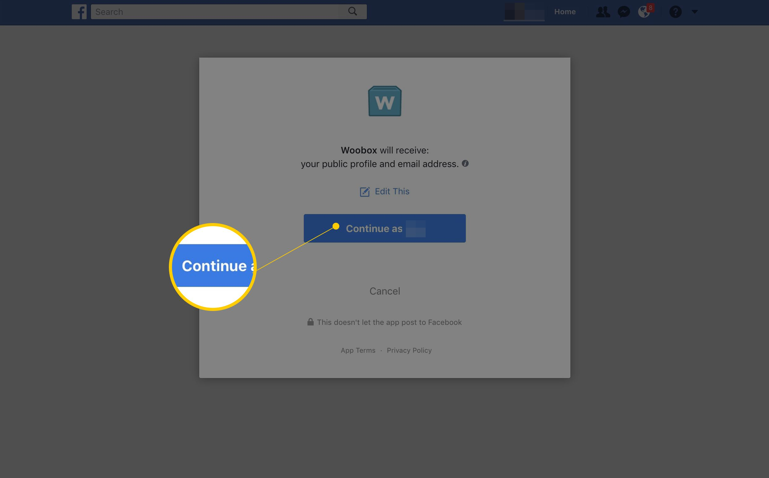 Continue button for Woobox permissions