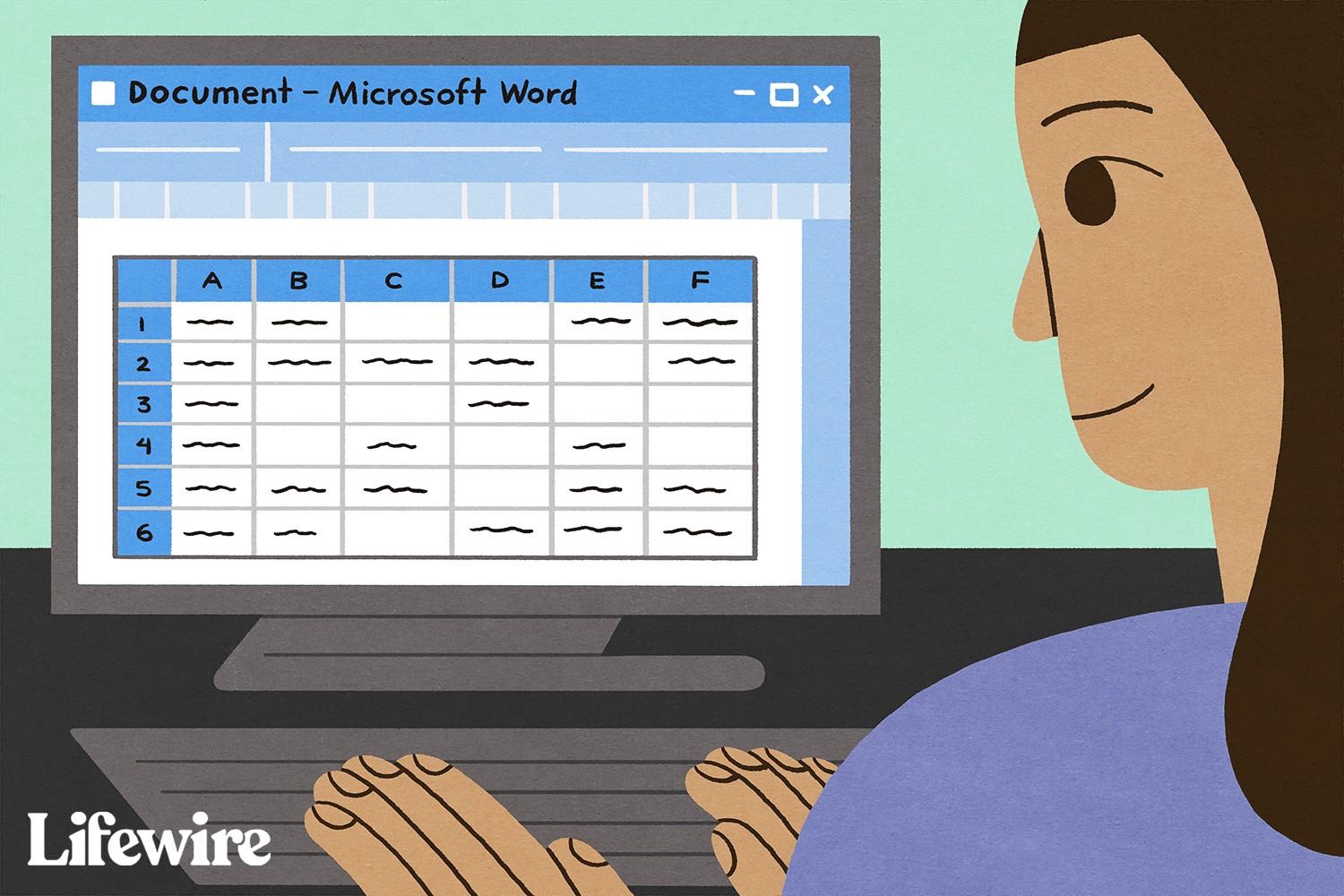 Person working with an embedded Excel file in Word