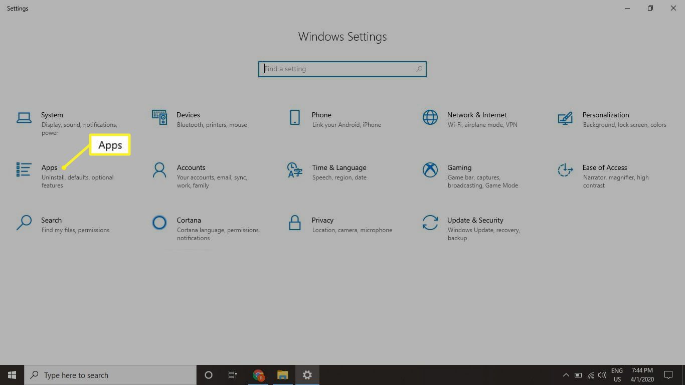 WIndows Settings screen with Apps selected