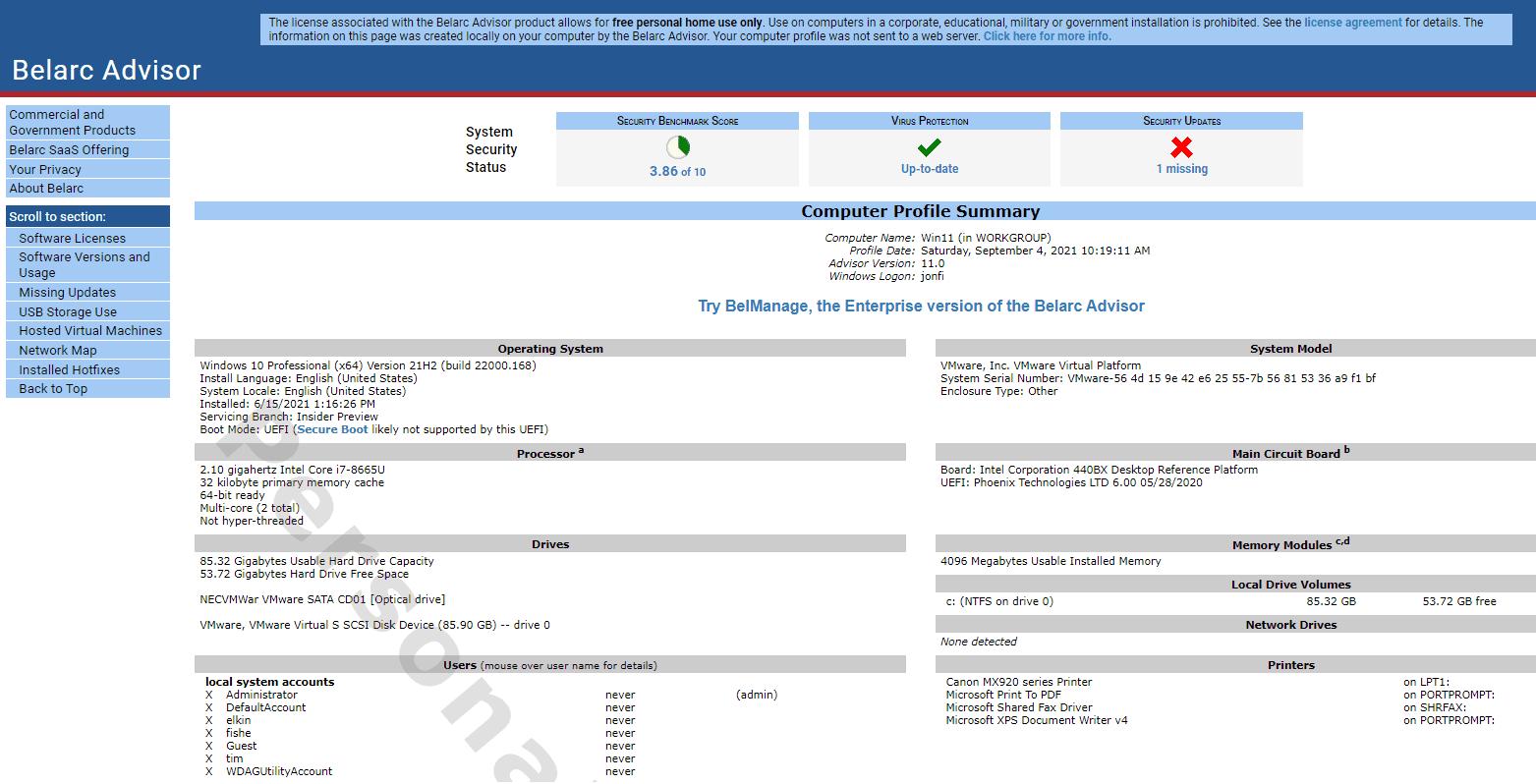 Belarc Advisor summary page
