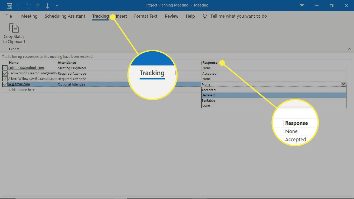 The Tracking tab and Response column