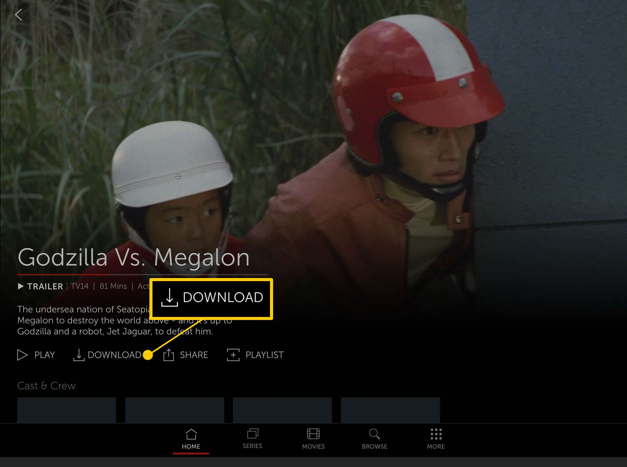 A movie page in the Starz app with the Download button highlighted