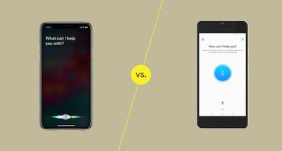 An illustration of the Siri digital assistant versus the Amazon Alexa mobile assistant.