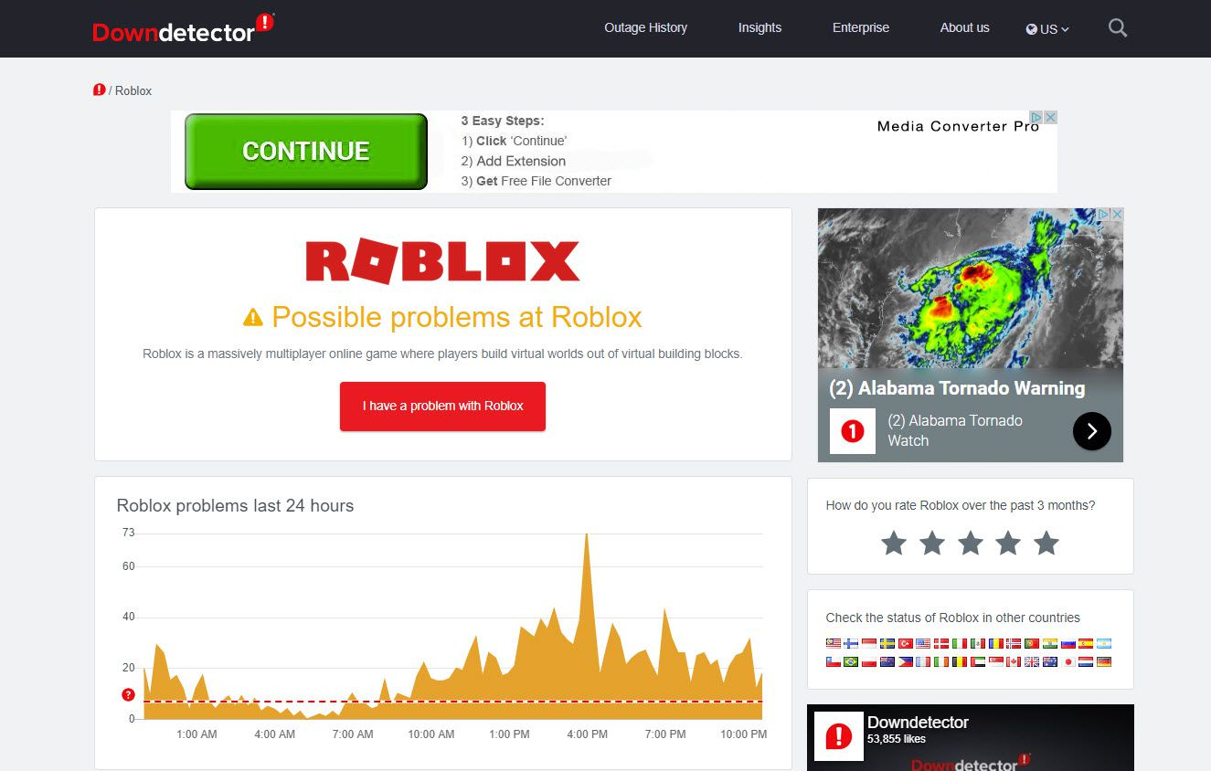 A Roblox status report from Downdetector.
