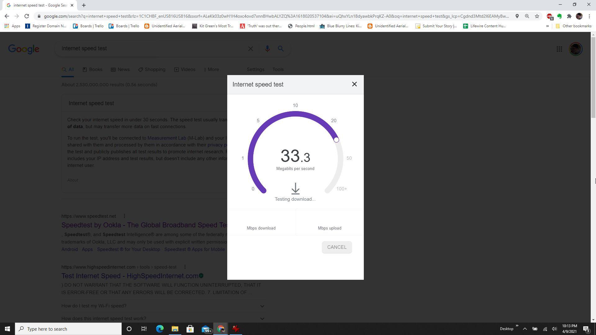 Screenshot of Google internet speed test.