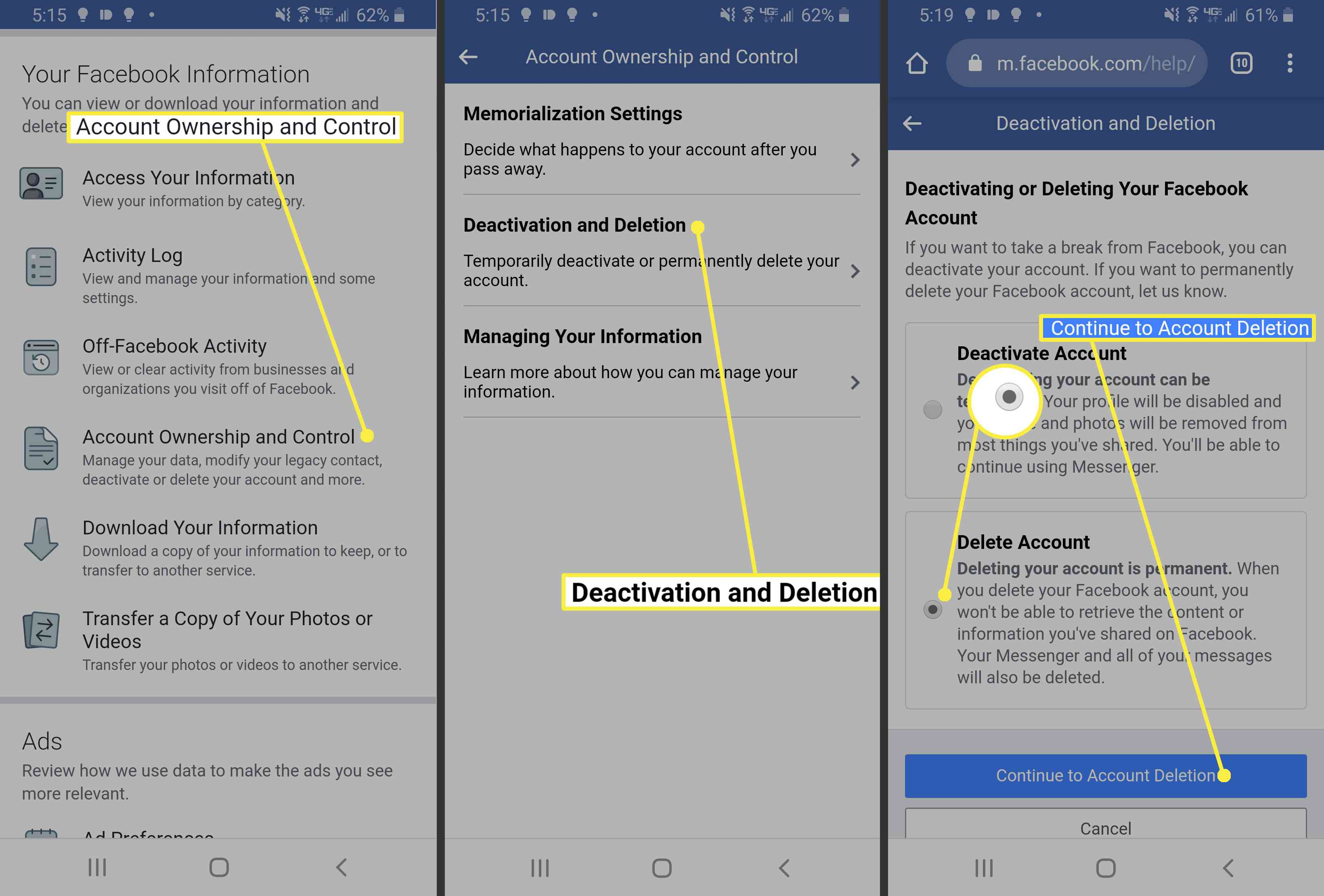 Deleting Facebook in a mobile browser on Android.