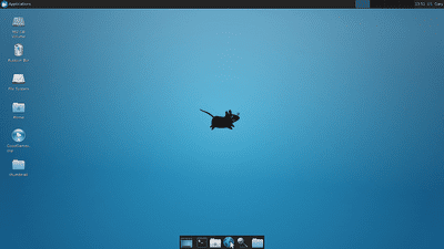 XFCE Desktop Environment blue background and cartoon mouse