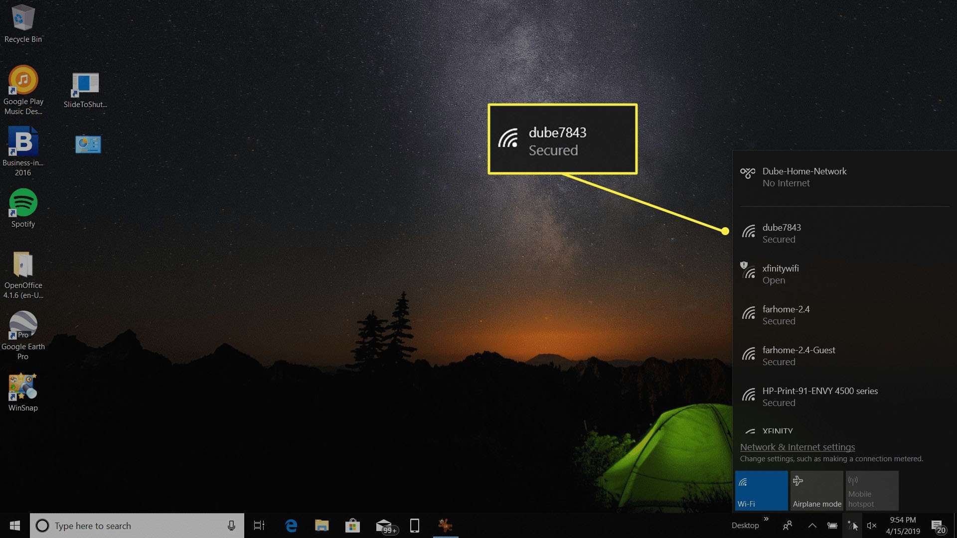 available wireless networks in Windows 10