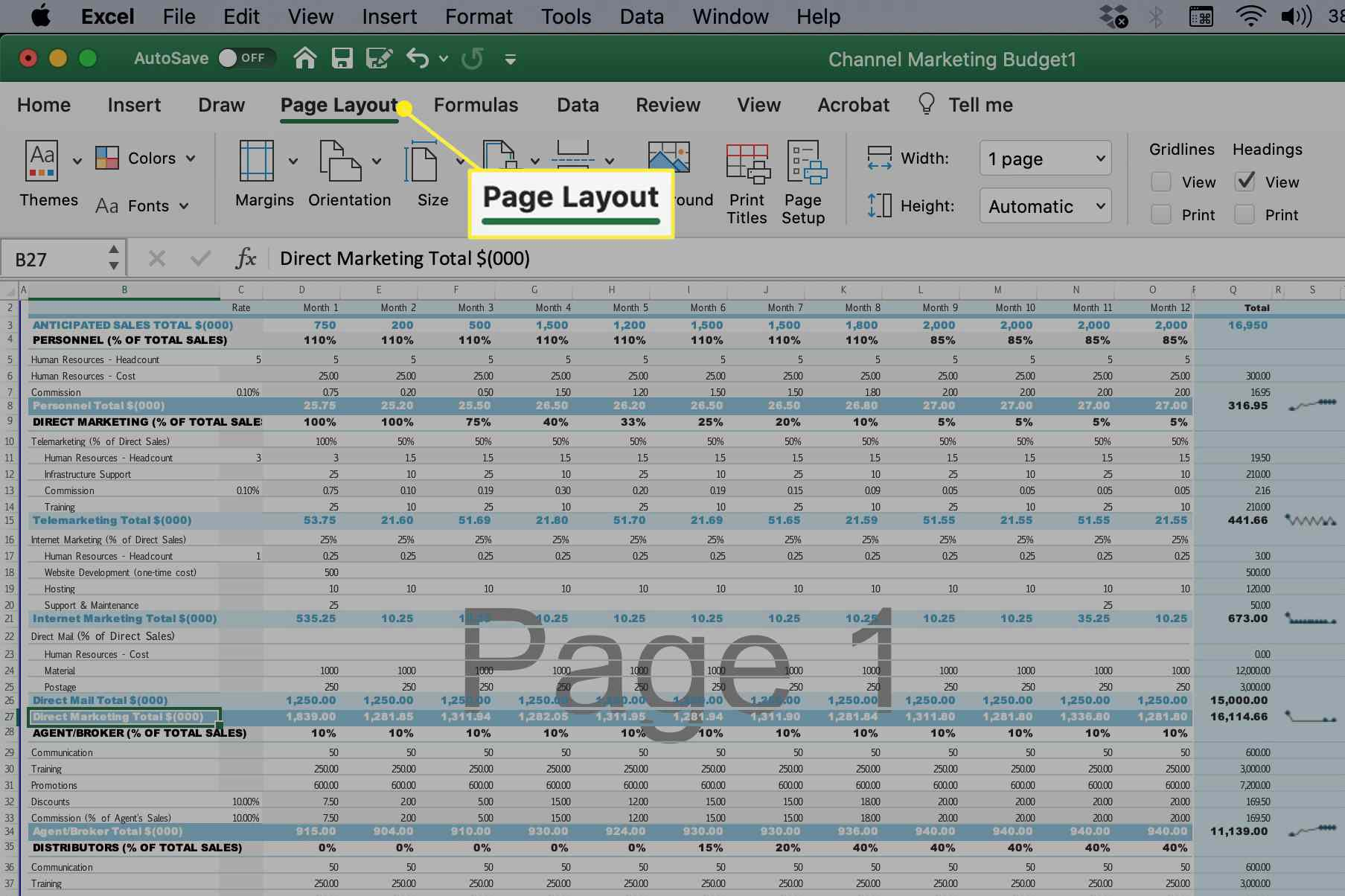 Page Layout tab