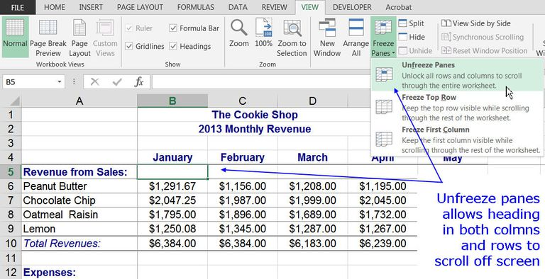 How to freeze column and row headings in excel how to unfreeze columns and rows in excel ccuart Gallery
