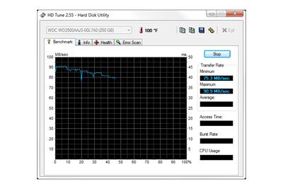 HD Tune v2.55 in Windows 7
