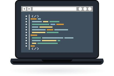 Illustration of a computer with HTML code on the screen