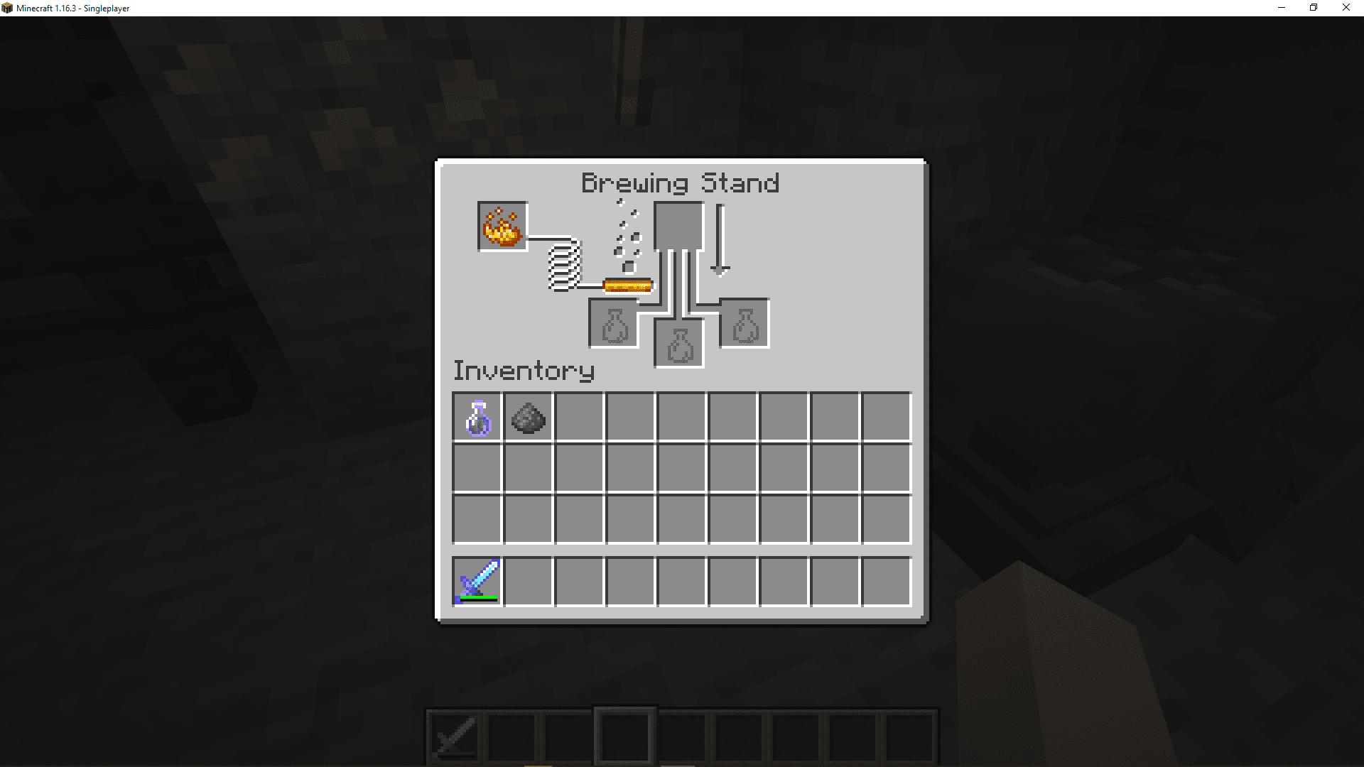 A screenshot of the Minecraft brewing interface.