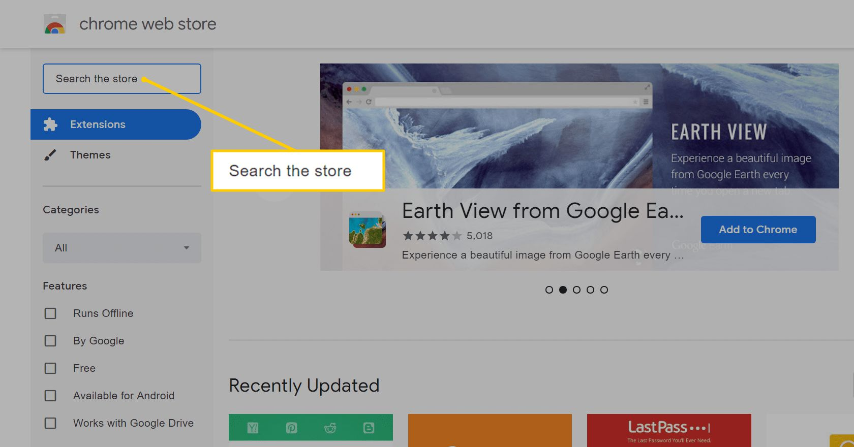 Search the store field on Chrome web store