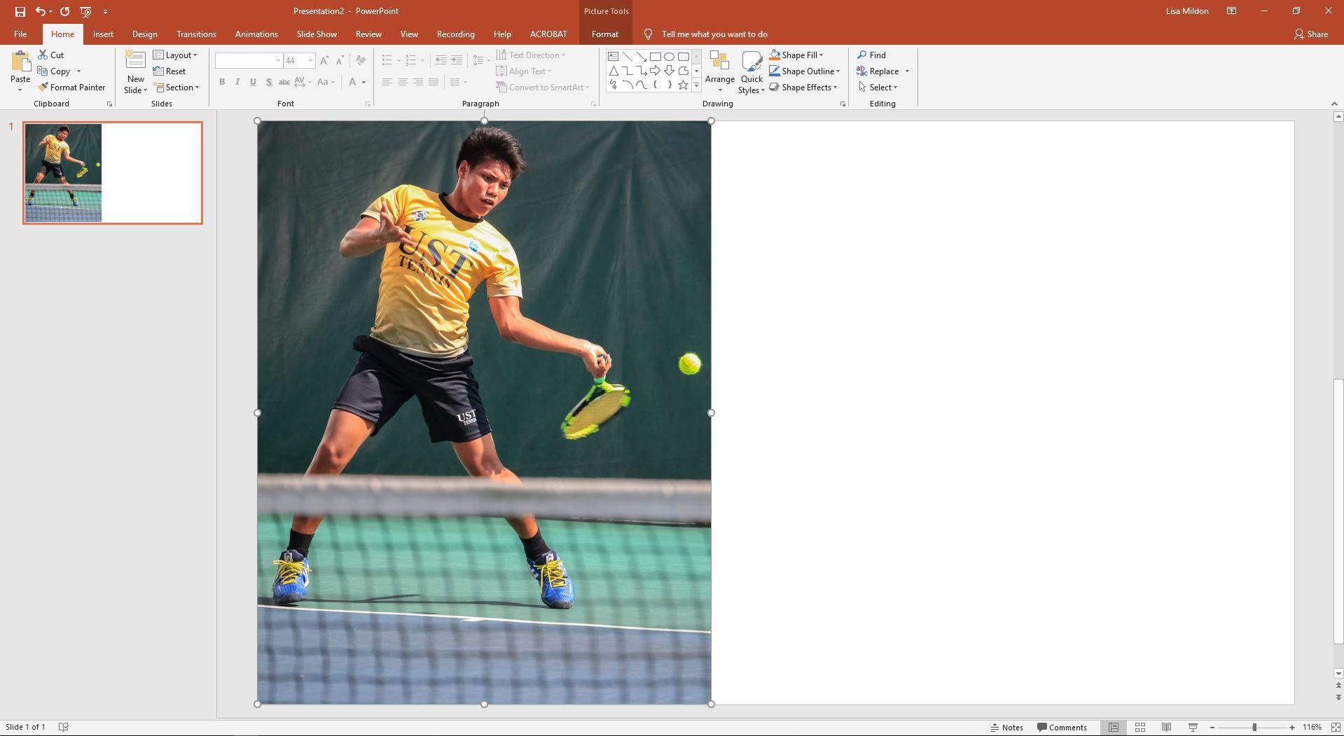 PowerPoint slide showing a tennis player hitting a ball.