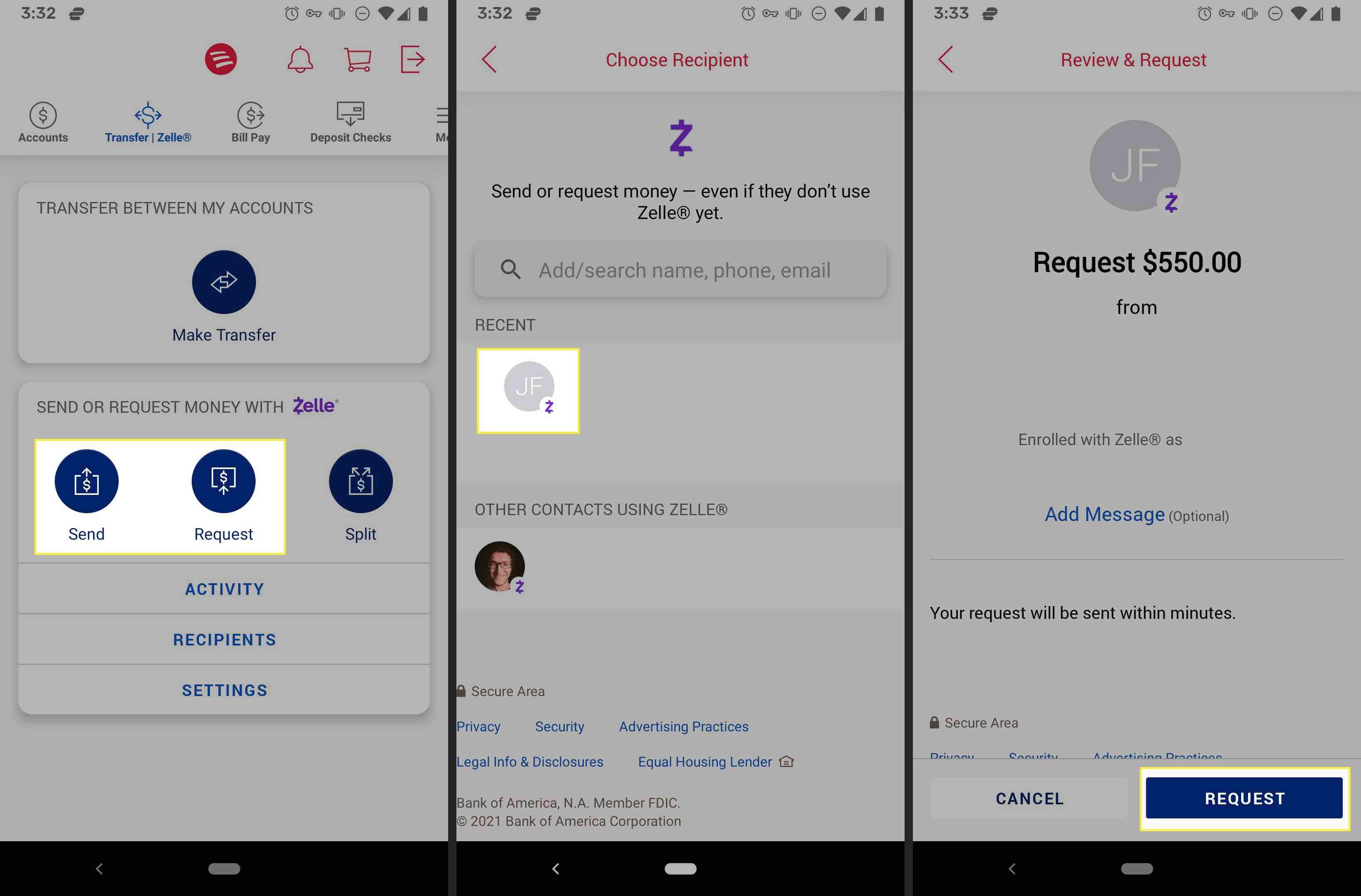 Requesting money over Zelle through Bank of America's app