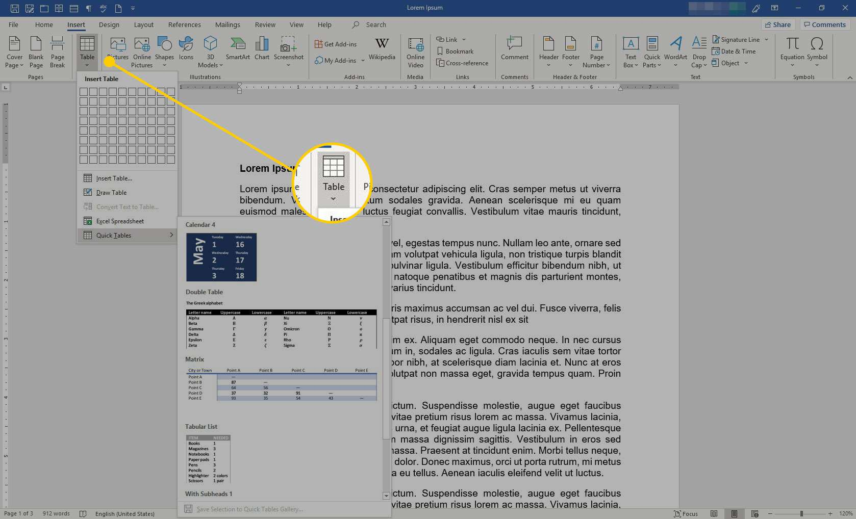Microsoft Word with the Table option highlighted