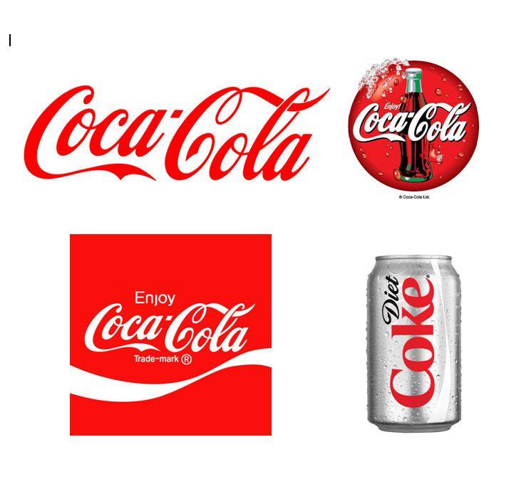 Compilation of Coca Cola and Diet Coke logo branding.