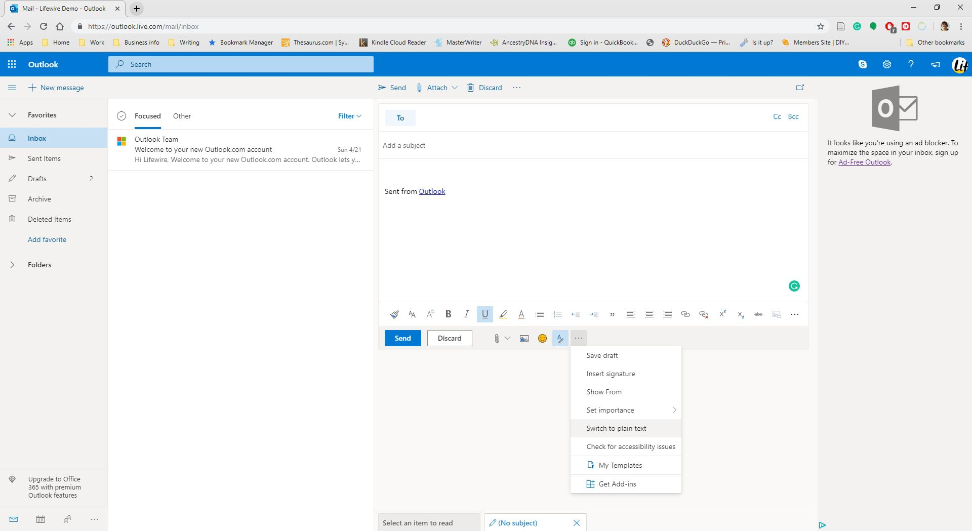 Selecting to switch email to plain text in Outlook.com.