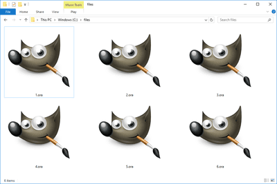 Screenshot of several ORA files in Windows 10 that open with GIMP
