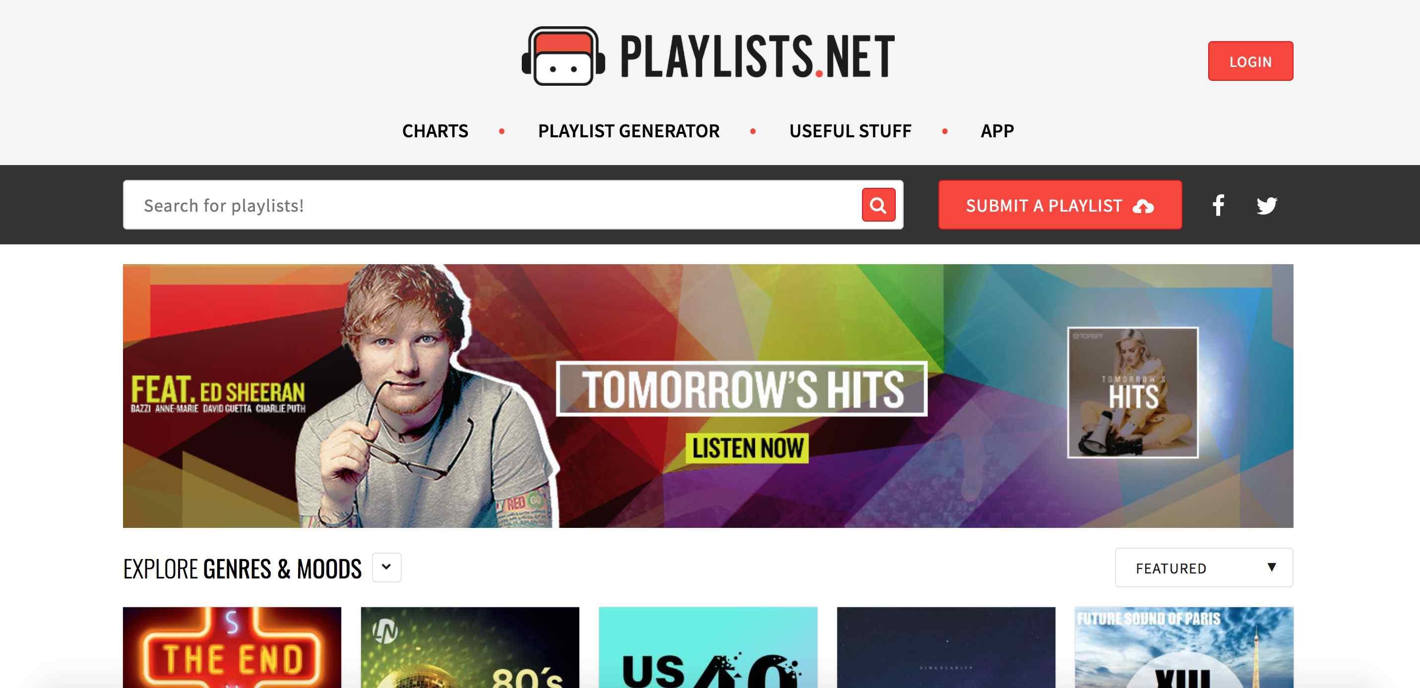 A screenshot of Playlists.net.