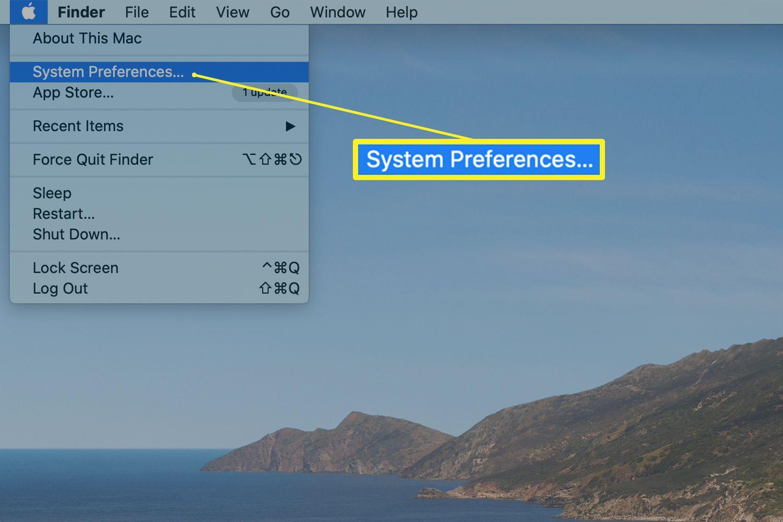 Apple menu showing System Preferences option