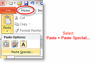 "Using ""Paste Special"" Command in PowerPoint"