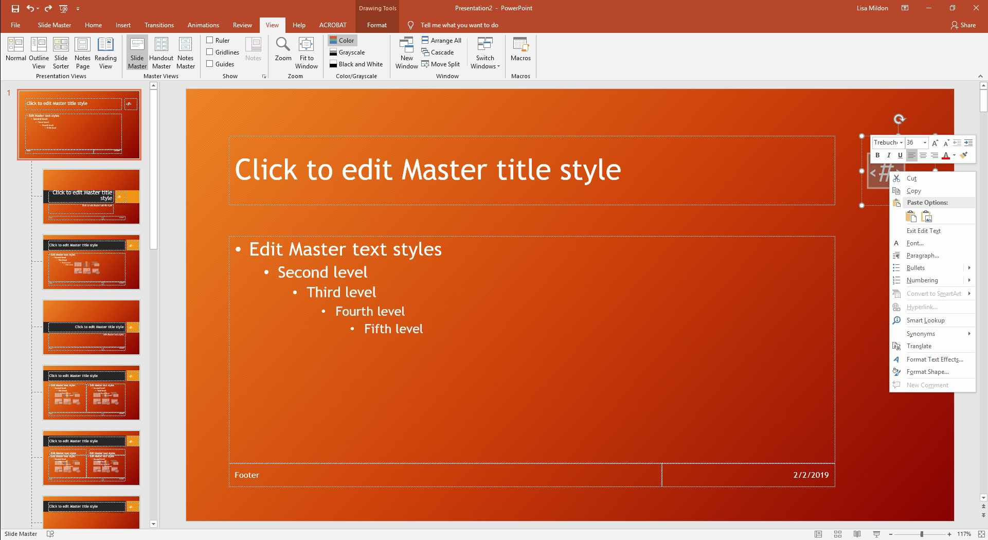 PowerPoint slideshow displaying right-click dialog.