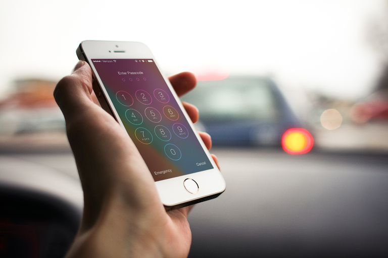Close-up of iPhone with passcode screen