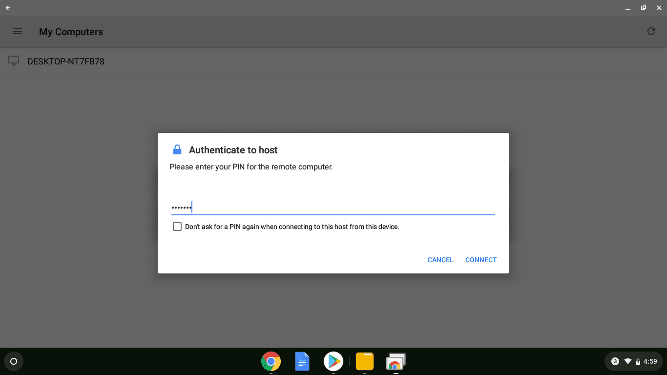 A screenshot of Chrome Remote Desktop accessing a remote computer.