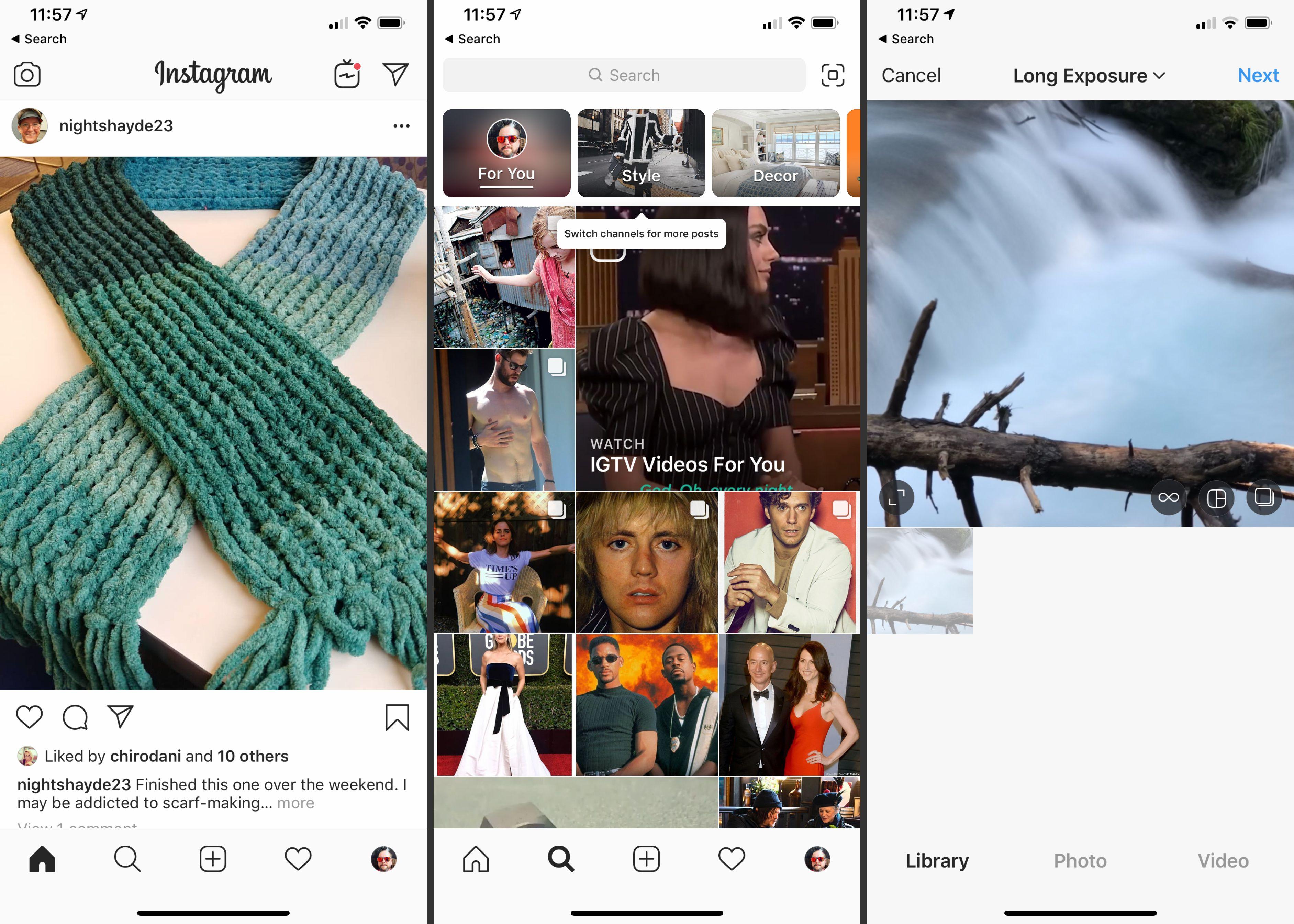 Three iOS Instagram screens