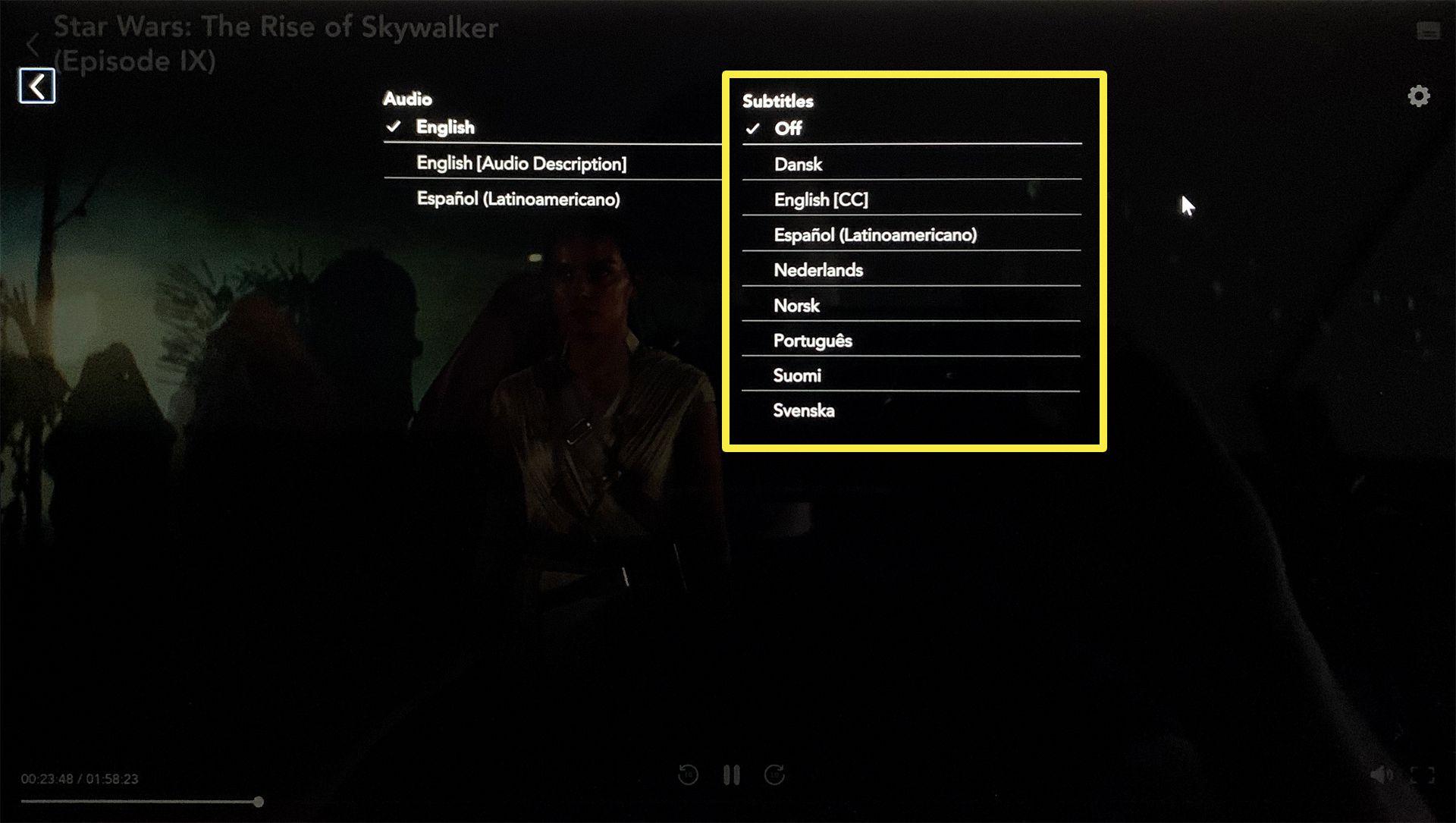 Disney Plus app subtitle settings.