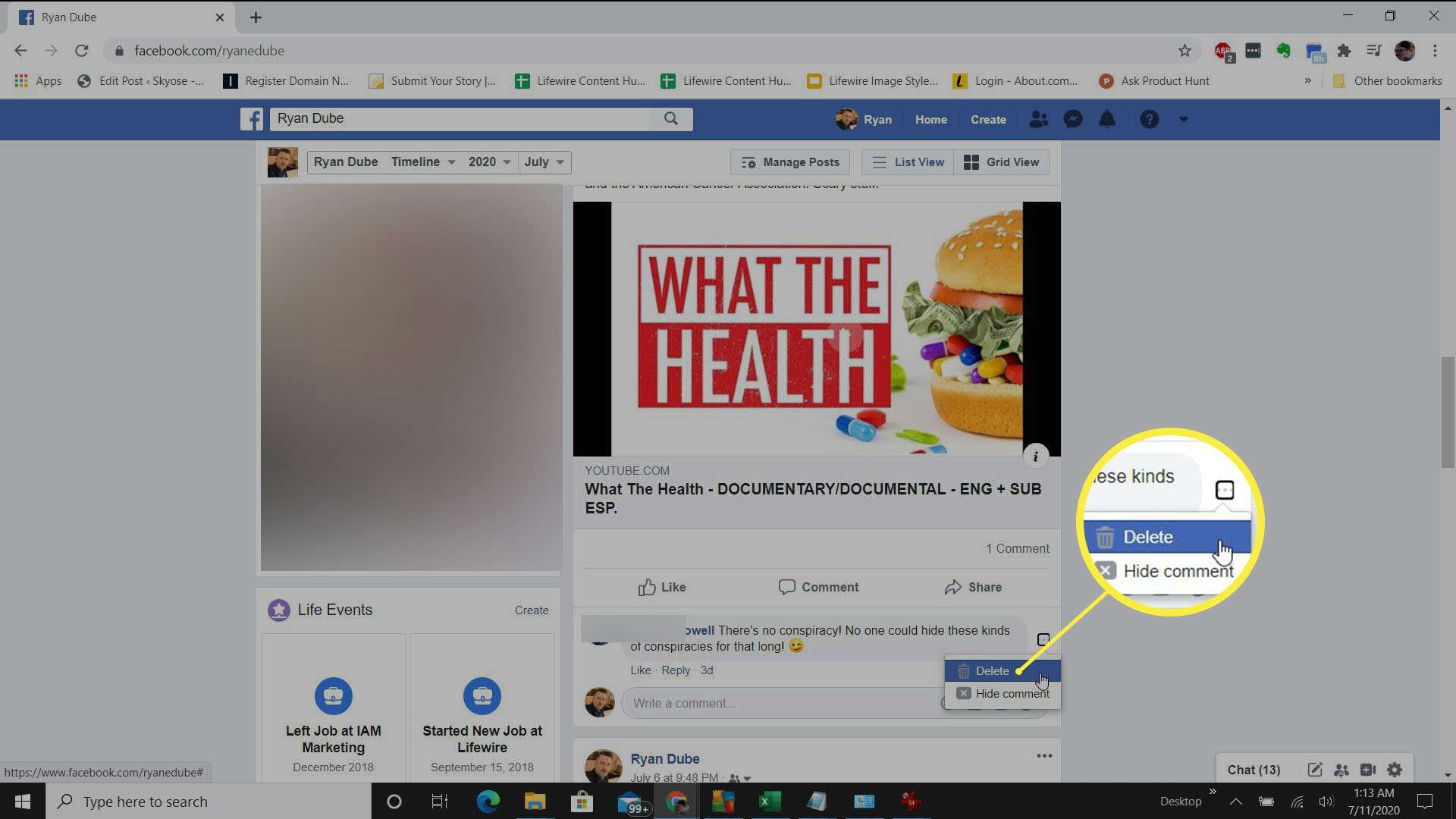 Screenshot of deleting someone else's Facebook post.