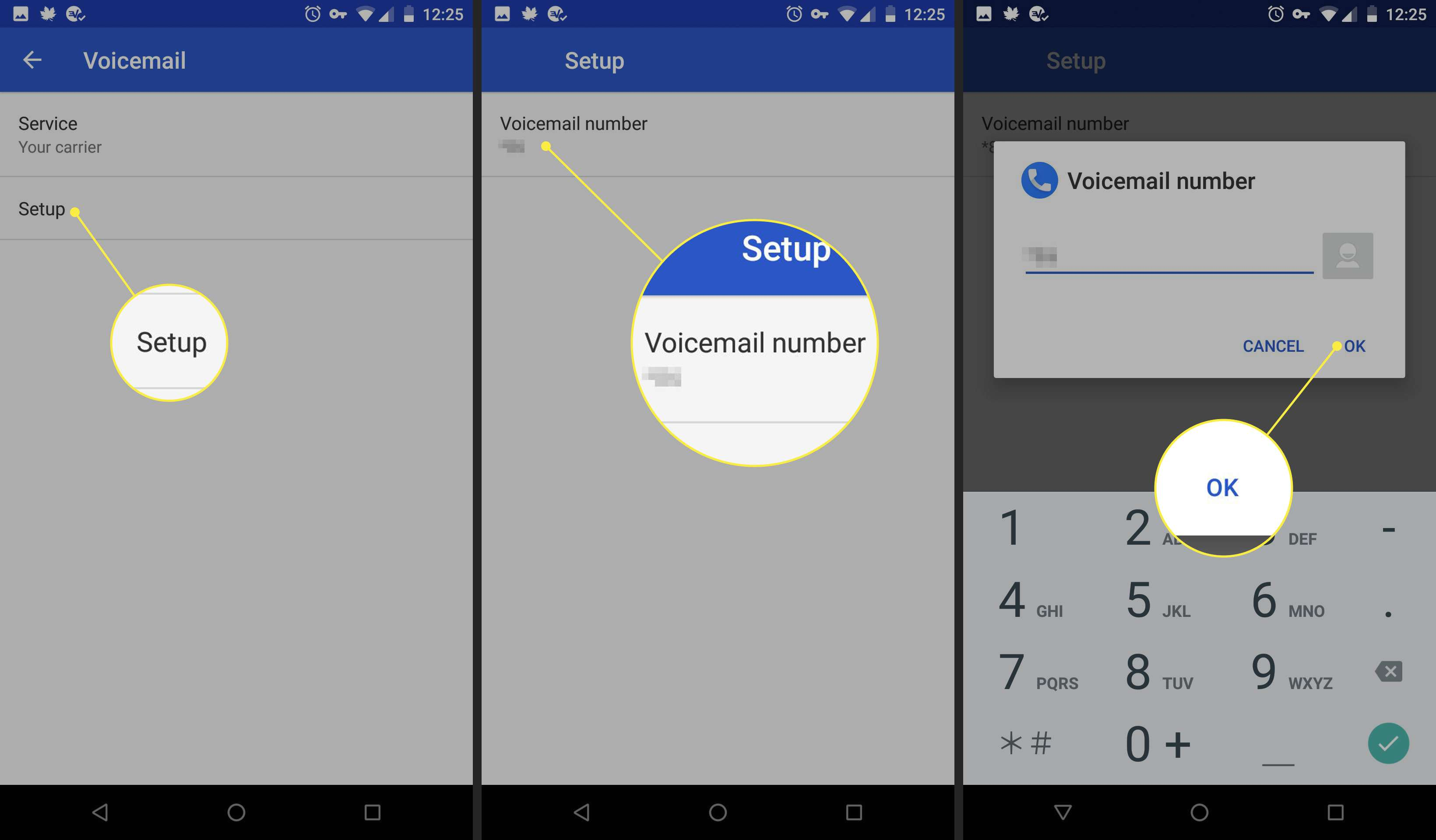 Voicemail number settings on an Android phone