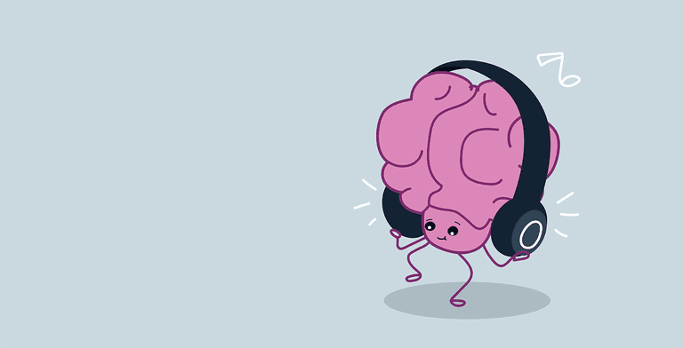 cute human brain organ listening music with headphones relax concept kawaii style pink cartoon character horizontal