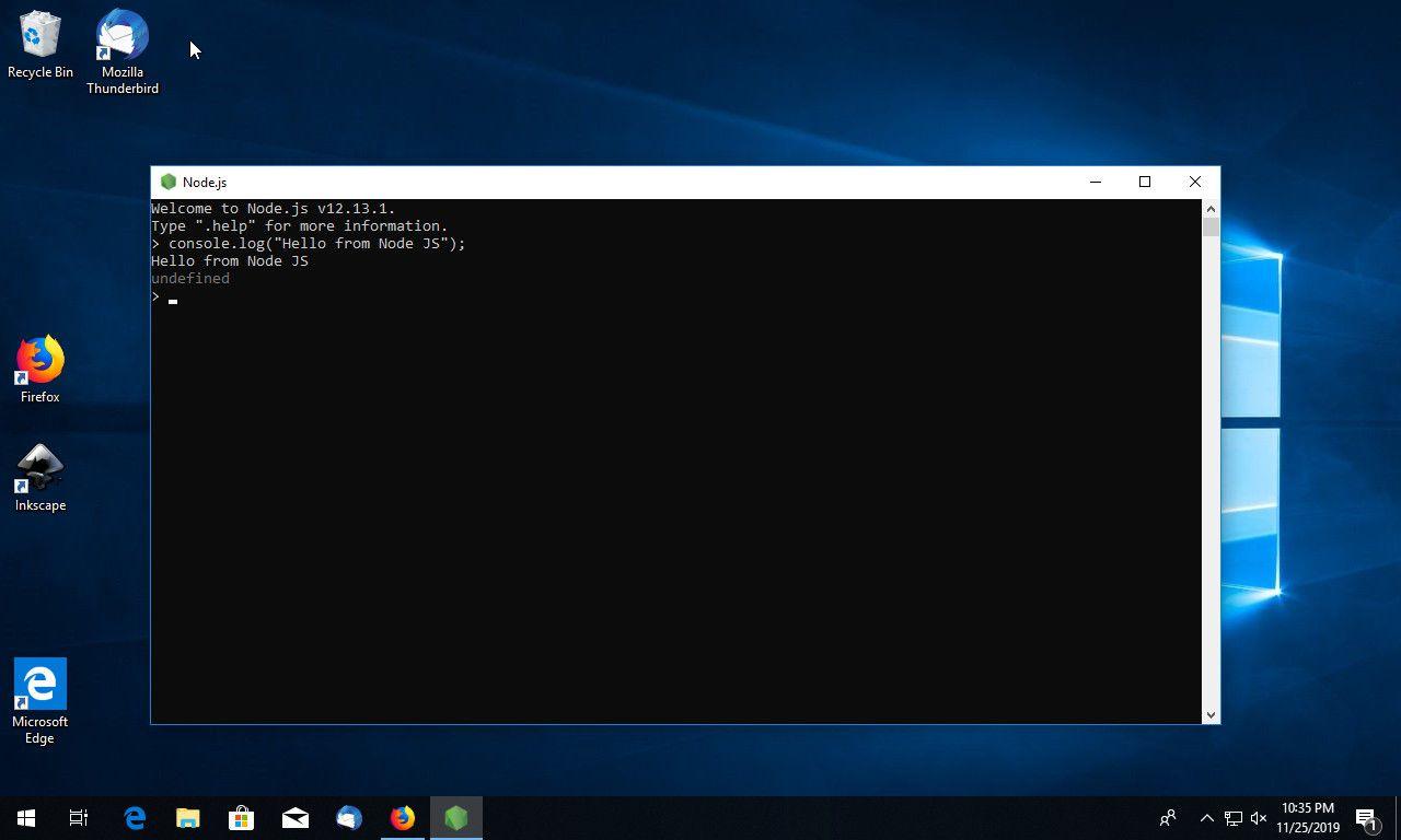 Node JS running on Windows 10