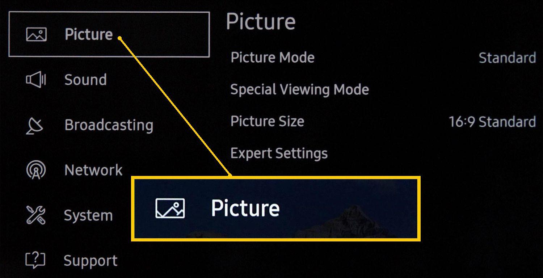 Samsung 4K UHD TV Settings Menu – Picture Settings Selected