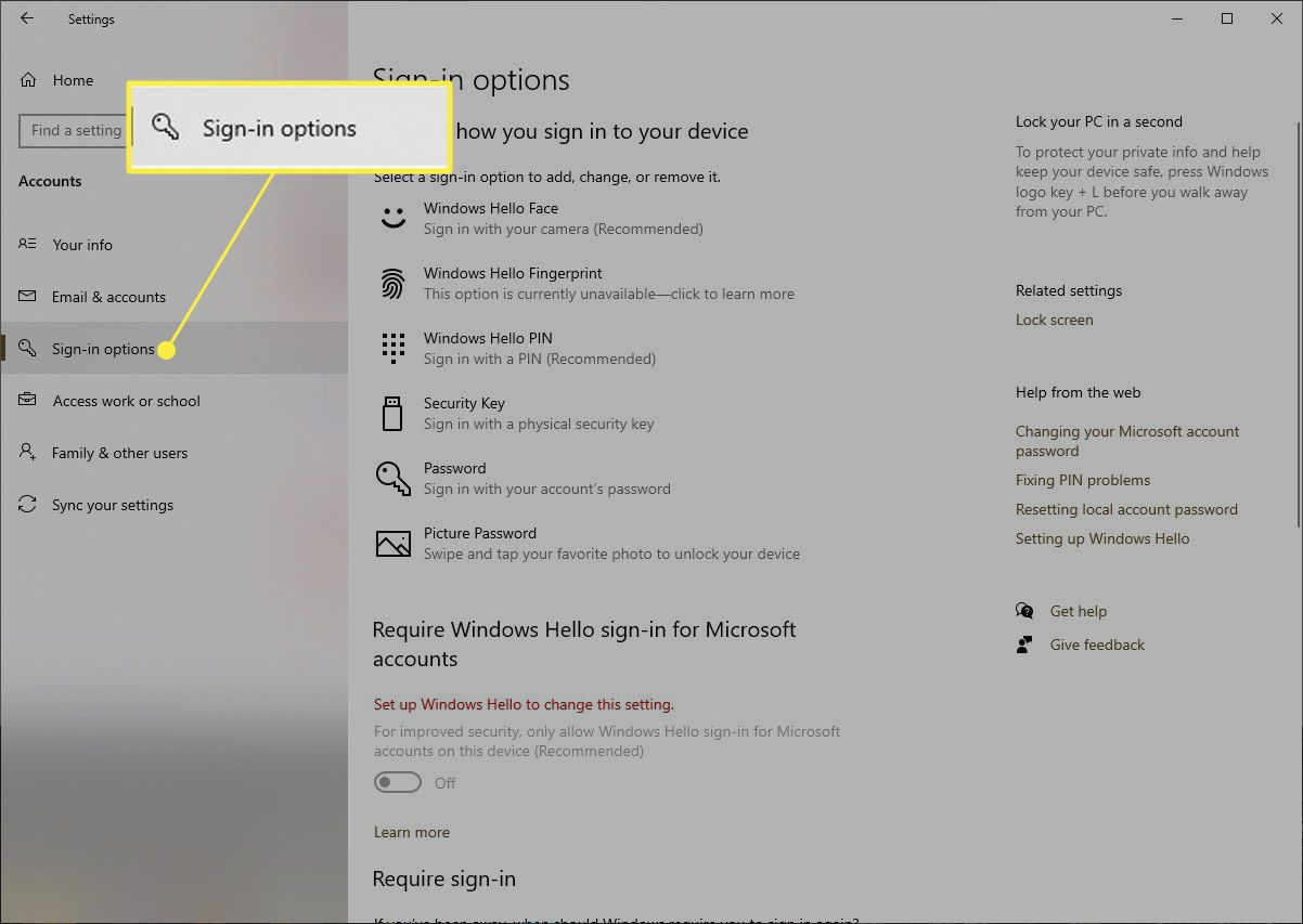 Windows 10 with Sign-in options highlighted