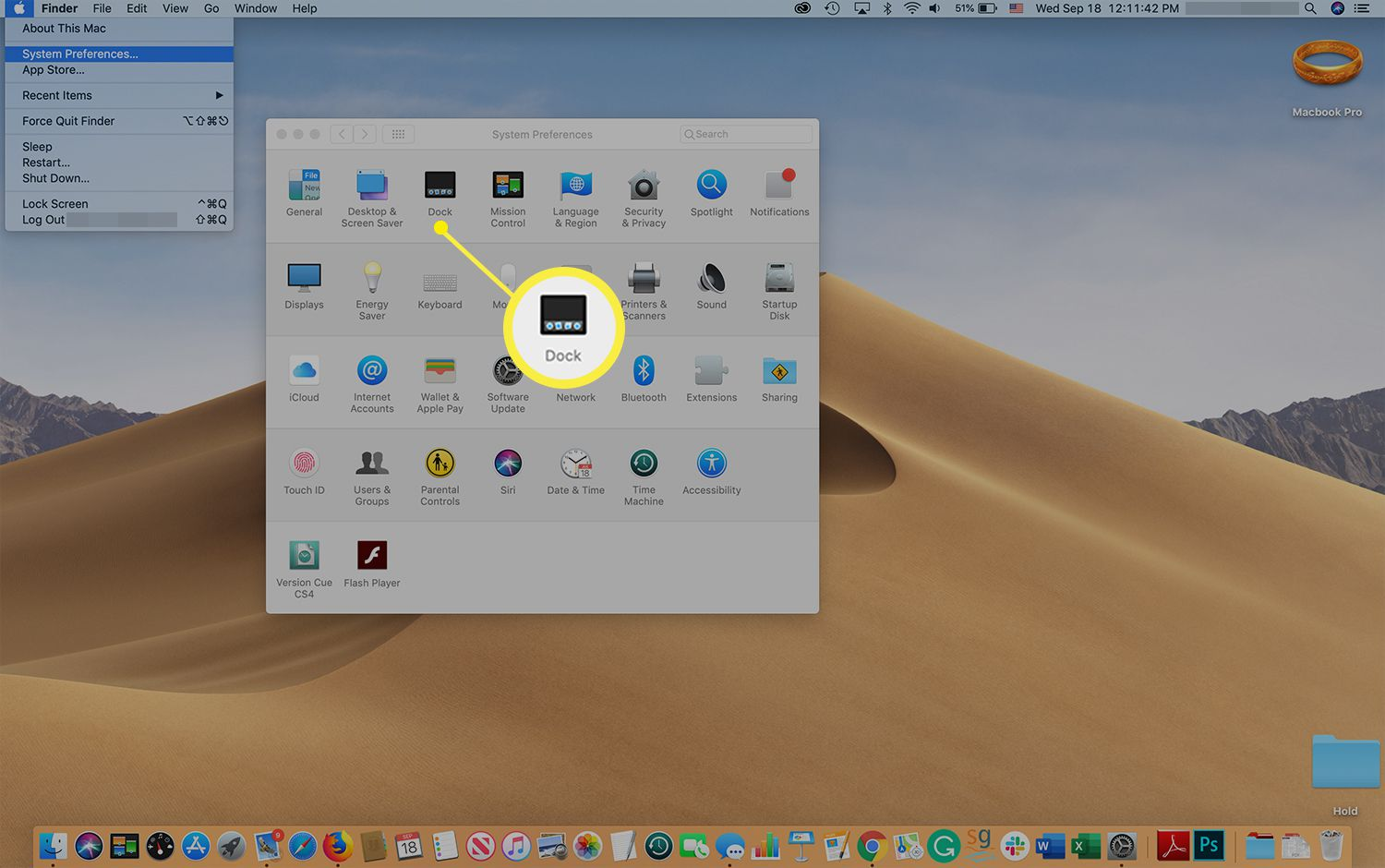 Dock icon in the System Preferences screen on a Mac