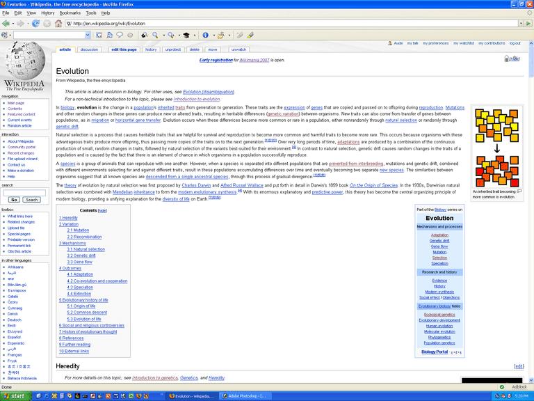 Screenshot of evolution article on Wikipedia